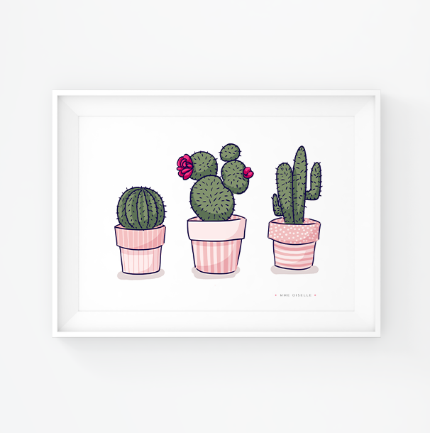 illustration digitale trio de cactus