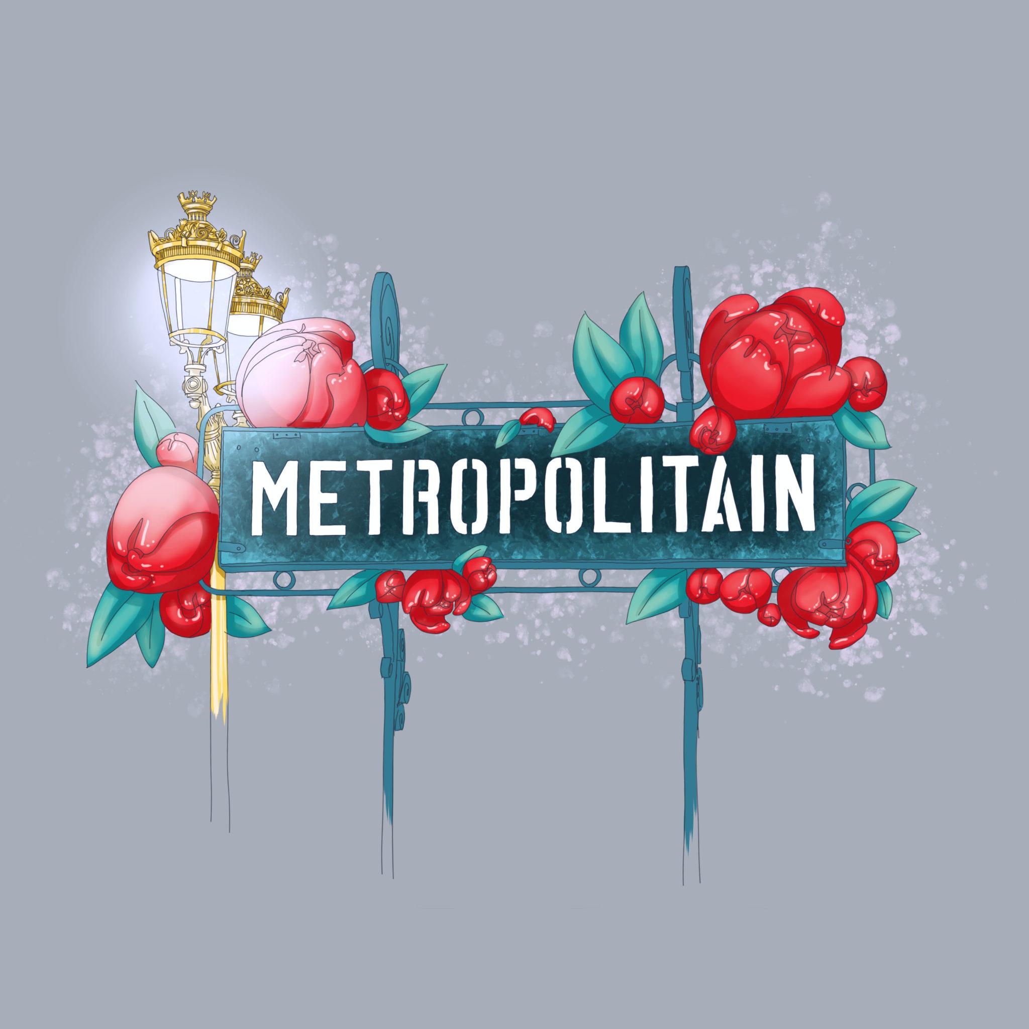 Illustration digitale métro parisien fleurs