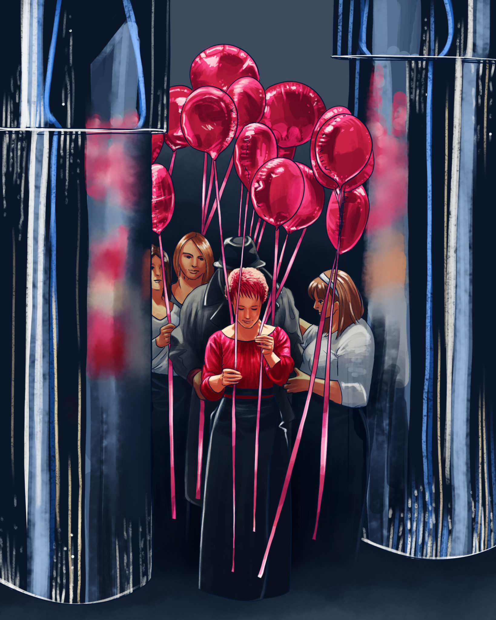 illustration digitale vendeuse de ballons
